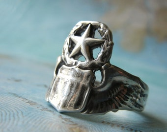 Pilot Wings Ring, Military Wife Jewelry, Silver Pilot's Wings Ring, Pilot Wings Ring, Custom Fine Silver Ring by HappyGoLicky Jewelry