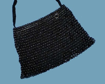 Vintage 30s 40s Black Beaded Evening Purse