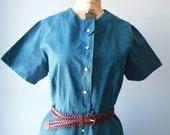 50's 60's Blue Plaid Shirt Waist Dress / XXL Vintage Dress