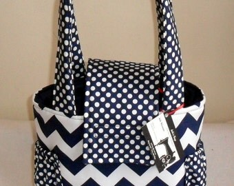 Small Navy Chevron and Polka Dots Toddler Short Trip Diaper Bag