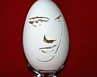 Hand Carved Goose Egg Portrait - Elvis - the King of Rock and Roll