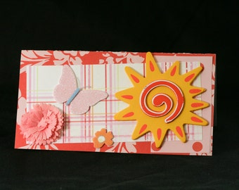 Checkbook Cover Vinyl Unique Handmade Sunshine Design