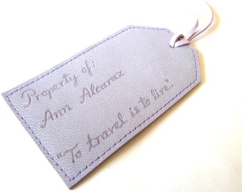 Personalised Leather Luggage Tag, Light Purple
