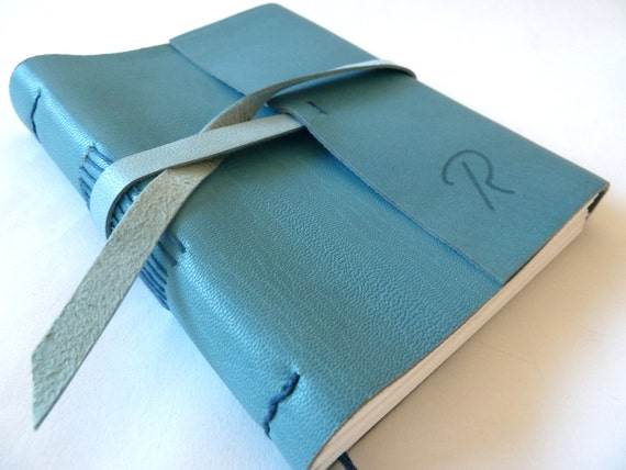 Personalised Leather Journal, Blue