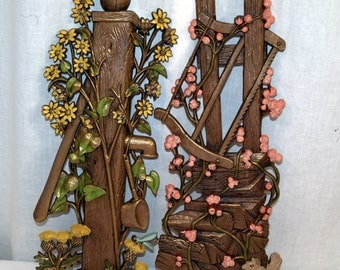 Vintage wall art made in the USA-Mid-century Mad Men decorative flowers fencing gold wall hanging