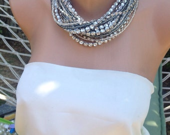 Handmade chunky bold bridal Silver Necklace Brides Bridesmaids gifts