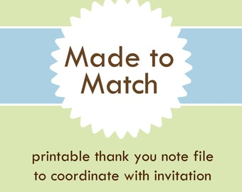 Custom You Print Thank You Notes from Cards with Care --- Digital File of 4 Thank You Notes per sheet