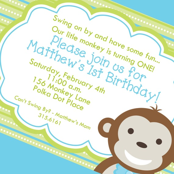 little monkey boy first birthday invitation printable