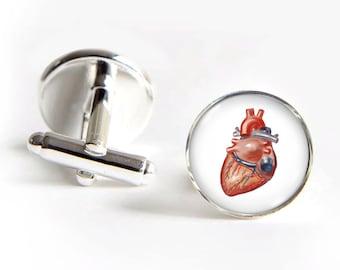 HEART Anatomy Cufflinks silver 18mm cuff links Gifts for him