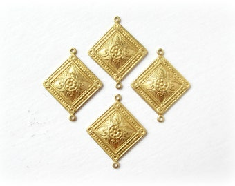 Raw Brass Diamond Connectors, 4 Pcs, Made in the USA