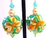 Yellow and Green Floral Earrings, Orange Mint Green Flower Glass Beaded Earrings, Chintz Lampwork Earrings, Mother's Day