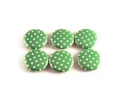 Funky Button Magnets  Refrigerator Magnets in  Lime Polka Dots Set of Six