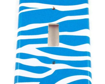 Light Switch Cover   Single Switchplate Switch Plate in Funky  Zebra Blue  (094S)