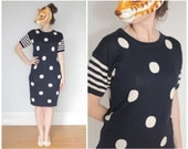 Vintage 80s Navy Blue and White Polka Dot Sweater Dress with Striped Short Sleeves | Medium