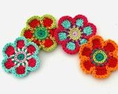 Crochet Flower Motifs Orange Lime Red Aqua