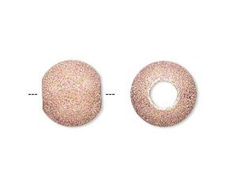 6 Stardust Glitter Ball Beads - 12mm Rose Gold with a 4.7mm hole