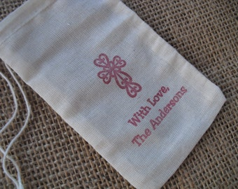 Personalized Cross Christian Christening Baptism First Communion Muslin Favor Bags 3x5 - Item 3M1194