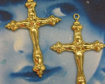 Natural Raw Brass Cross Pendants 962RAW x2