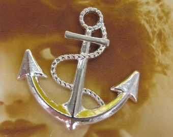 Shiny Silver  Large Anchor Charms 982SIL x2