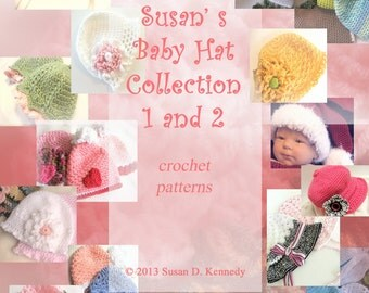 Baby Hat Crochet PATTERNS - Susan's Collection of Fourteen Baby Hats - Instant Download - Permission to Sell