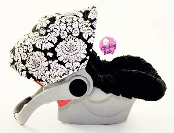 Infant Car Seat Cover, Baby Car Seat Cover in Black and White Dandy Damask