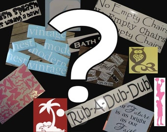 Grab bag of vinyl lettering, graphics and designs at drastically reduced prices