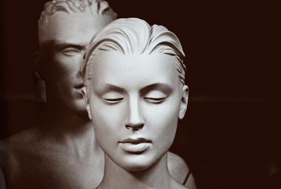 Black and white photograph of female and male mannequin / Portrait / Couple / Sepia YOU AND ME