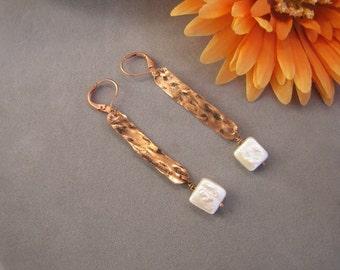 Long Copper Dangle Earrings, Hand Forged Copper Earrings, Long Dangles, Pearl Dangle Earrings, Copper Pearl, June Birthday, BELLA