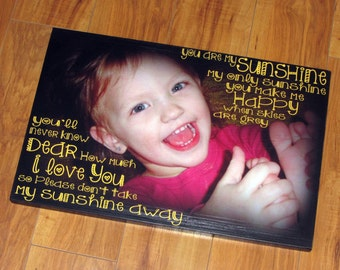 "You Are My SUNSHINE- Personalized PHoTO Giclee MoUNTED prints- custom made to order- 11"" x 17"""