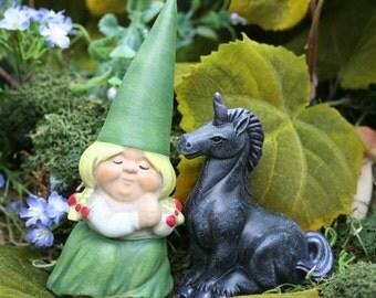 Gnome Girl & Her Black Unicorn - Fairy Garden Art
