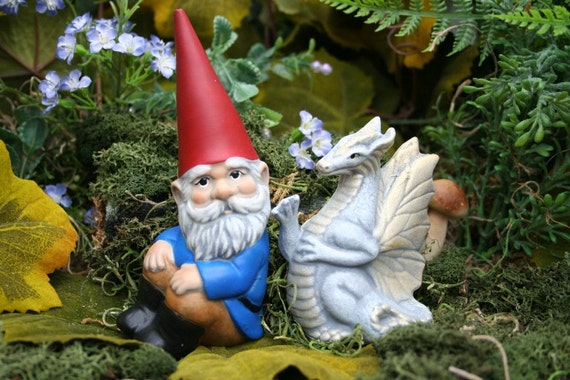 Gnome Garden: Garden Gnome & White Dragon Statue 2 Piece Set By PhenomeGNOME