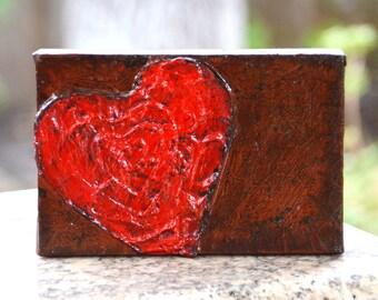Textured HEART ART 4x6 original painting