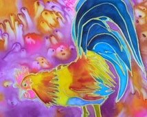 Rainbow Rooster 8x10 print  from Kauai Hawaii teal blue orange yellow pink aqua