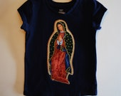 Virgin Mary Applique on Navy Blue Short Sleeved Tshirt