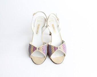 size 8.5 | vintage Maserati kidskin slingback heels | pastel woven leather sandals | 39