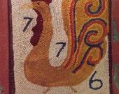 1776 Primitive Rug Hooked Rooster Paper Pattern OFG Team