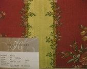 Embroidered Floral Ribbon Stripe Lampas Designer Fabric Sample Highland Court Vine Red