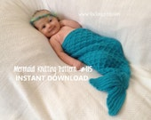 Mermaid Tail Cocoon Knitting Pattern -- Charming Newborn Photo Prop -- PDF Number 115 -- INSTANT DOWNLOAD -- 35,000 patterns sold