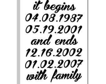 Custom Canvas Artwork It Begins and Ends with Family - Family Special Dates Art Canvas - Personalized Gift 10X20 Geezees