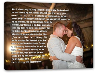Personalized Gift Your photo on canvas word art on Photograph Personalized Custom Art Canvas Wedding 18X24