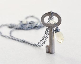 Key Necklace, Vintage Skeleton Key Necklace, Long Silver Necklace, OOAK