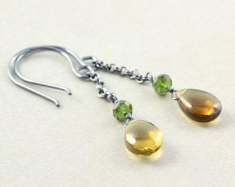 Quartz Dangle Earrings, Tourmaline Earrings, Chain Earrings, Handmade