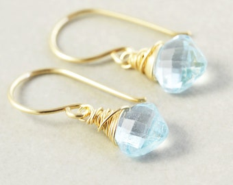 Blue Topaz Drop Earrings, December Birthstone, Gemstone Dangle Earrings, Bridesmaid Gift