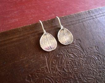 Rustic Petal Earrings in Sterling Silver - Detailed Sterling Silver Hydrangea Petal Earrings Dainty Everyday Earrings