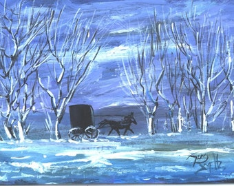 Amish Buggy Winter Ride  landscape painting  Jim Smeltz
