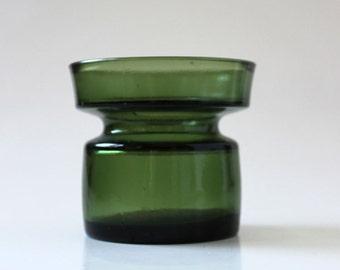 Dansk Green. Vintage IHQ glass candle holder.