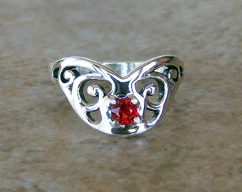 Genuine Red Sapphire Sterling Silver Butterfly Ring, Cavalier Creations