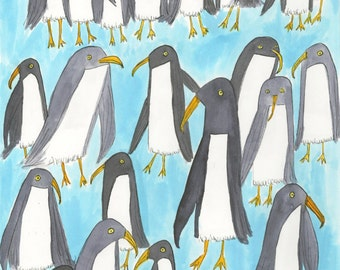 Penguin group portrait.  Limited edition  print by Vivienne Strauss.