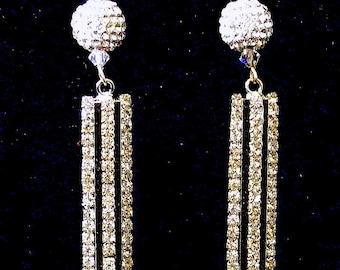 Bridal Sparkling Glam Black Tie Formal Rhinestone CZ Dangle Earrings