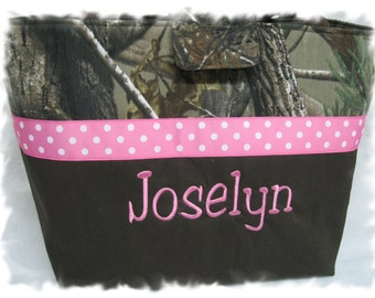 Personalized / Monogrammed Mossy Oak Fabric Camo Diaper Bag in Pink For Girl